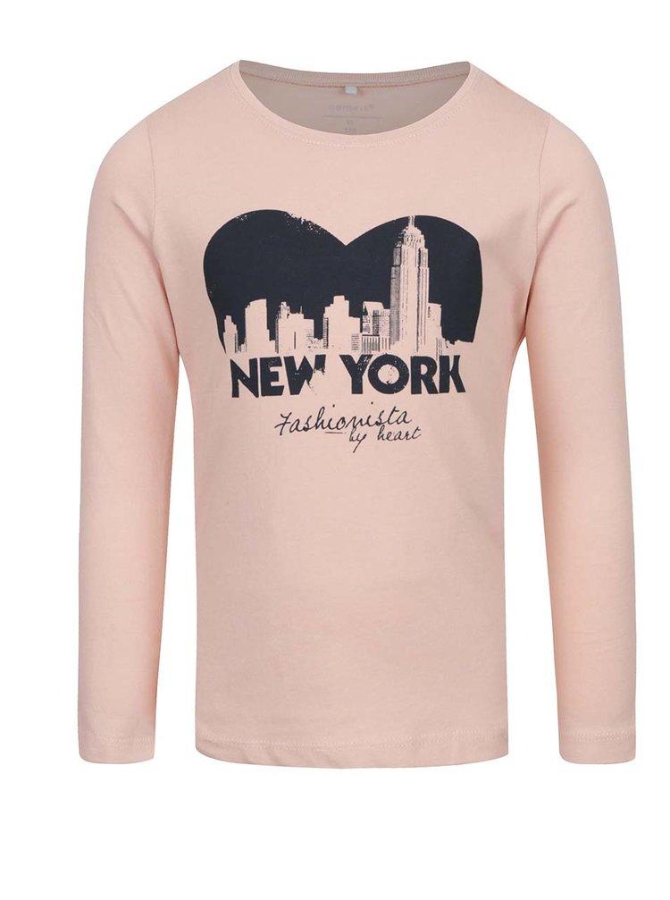 Bluză roz pal cu print frontal pentru fete name it Veenhi