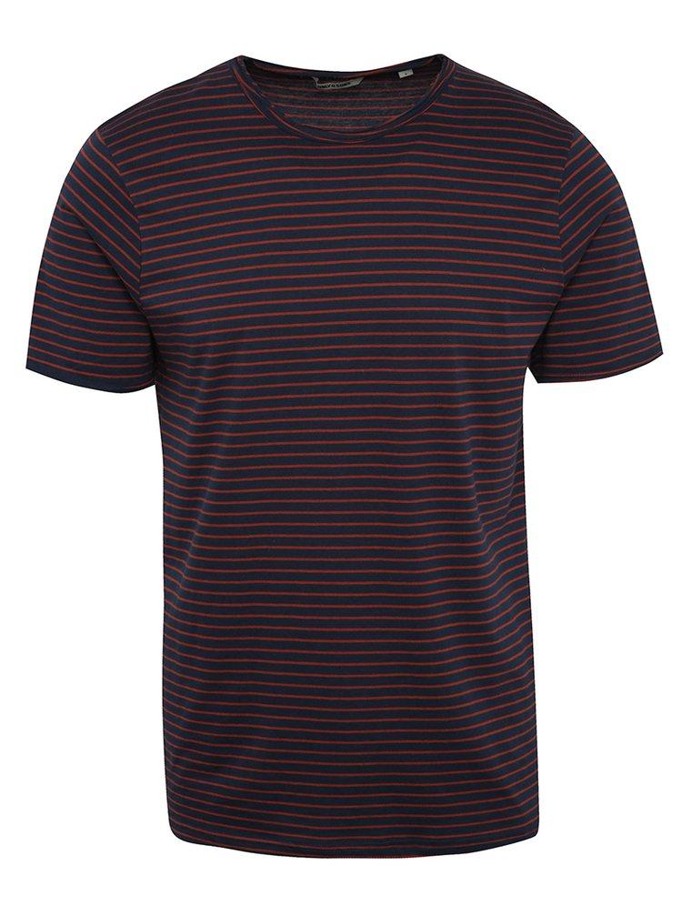 Červeno-modré pruhované triko ONLY & SONS Albert Stripe