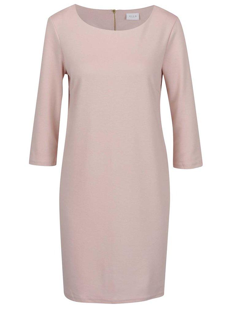 Rochie midi roz cu mâneci trei sferturi VILA Tinny