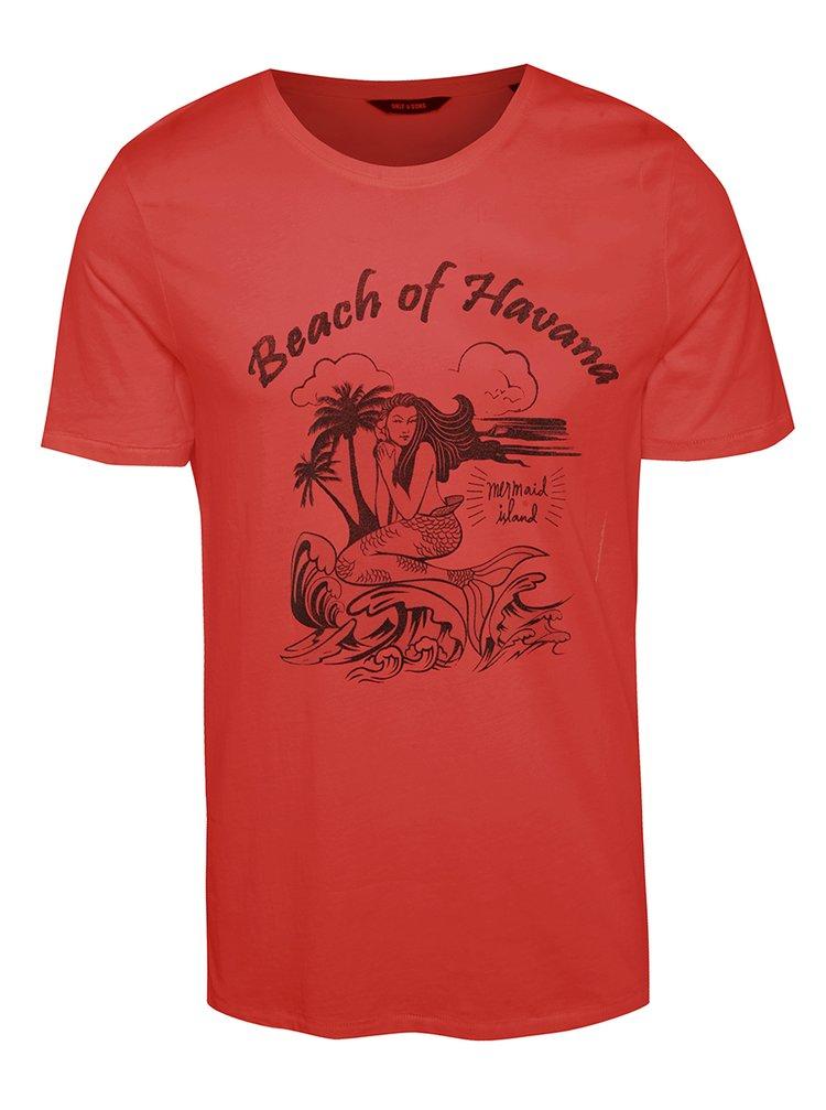 Tricou roșu ONLY & SONS Sevel cu print