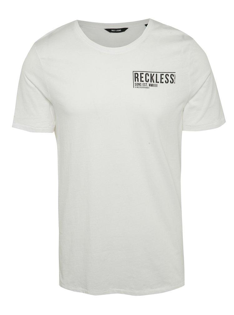 Bílé triko s potiskem ONLY & SONS Herbert