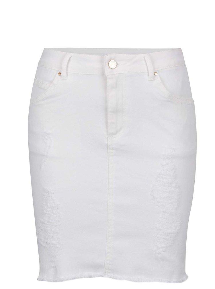 Krémová sukně s potrhaným efektem VILA Juka