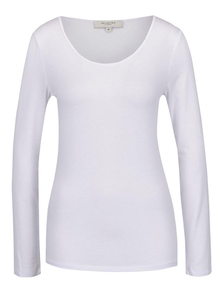 Bílé basic tričko s dlouhým rukávem Selected Femme Mio