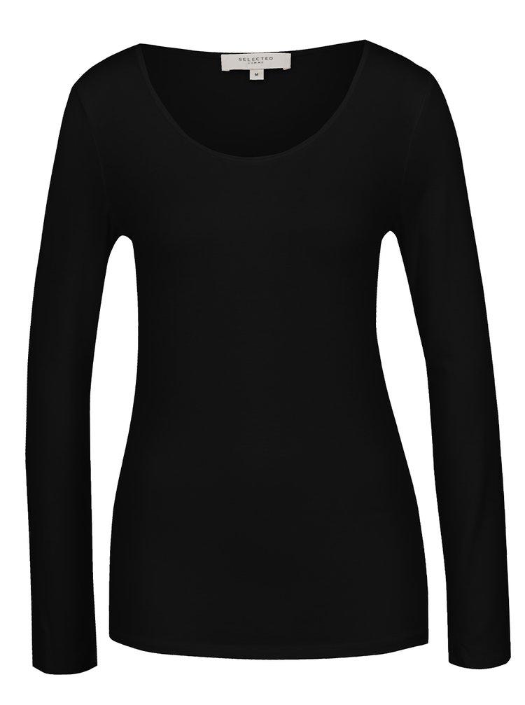 Bluza basic neagra cu decolteu rotund Selected Femme Mio