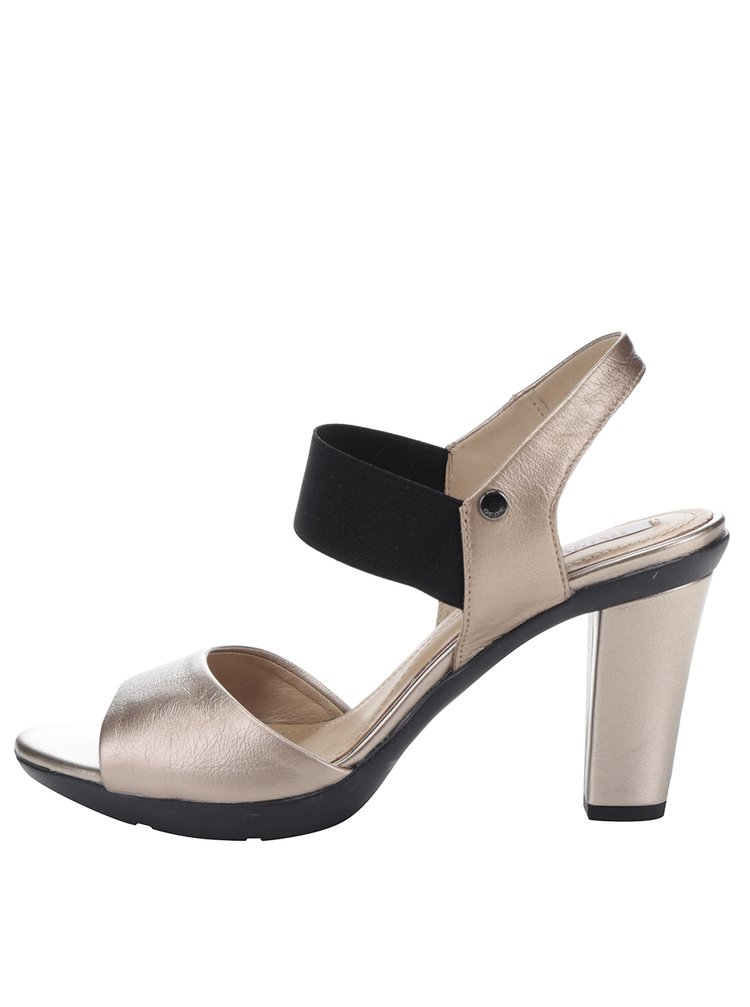 Sandale cu toc culoarea bronzului din piele Geox Jadalis
