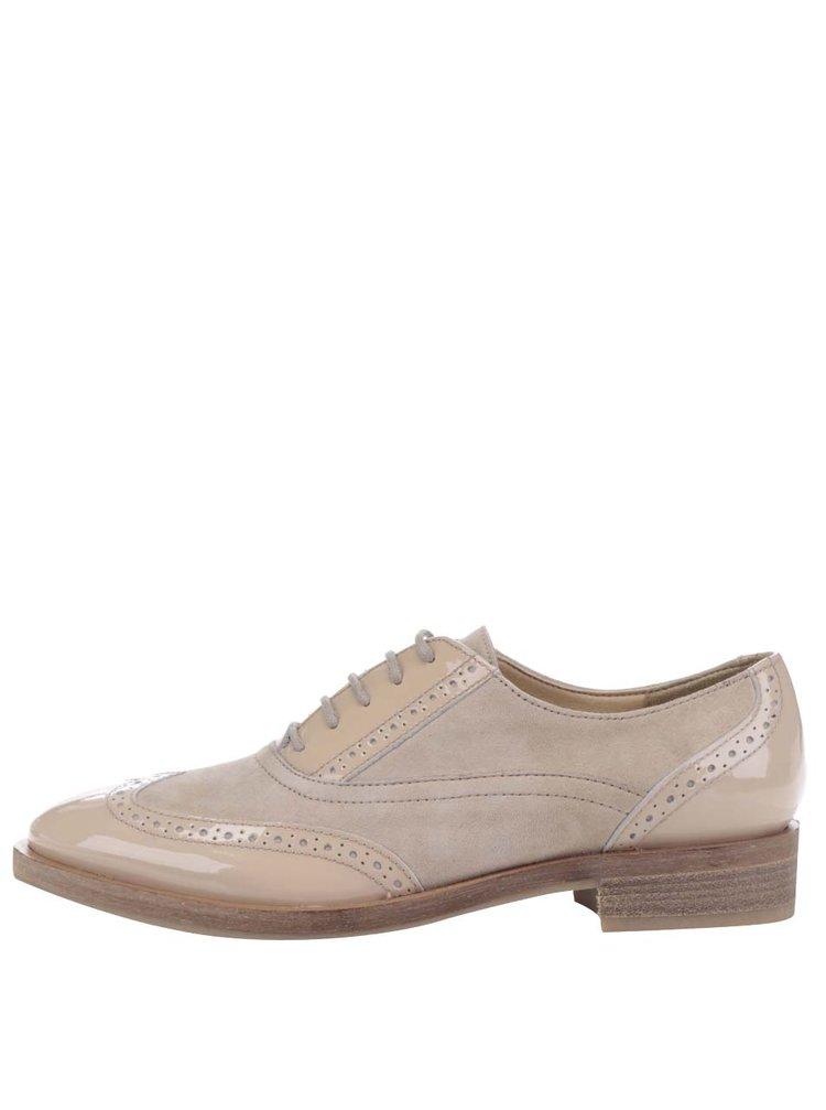 Pantofi bej brogue din piele&textil Geox Brogue