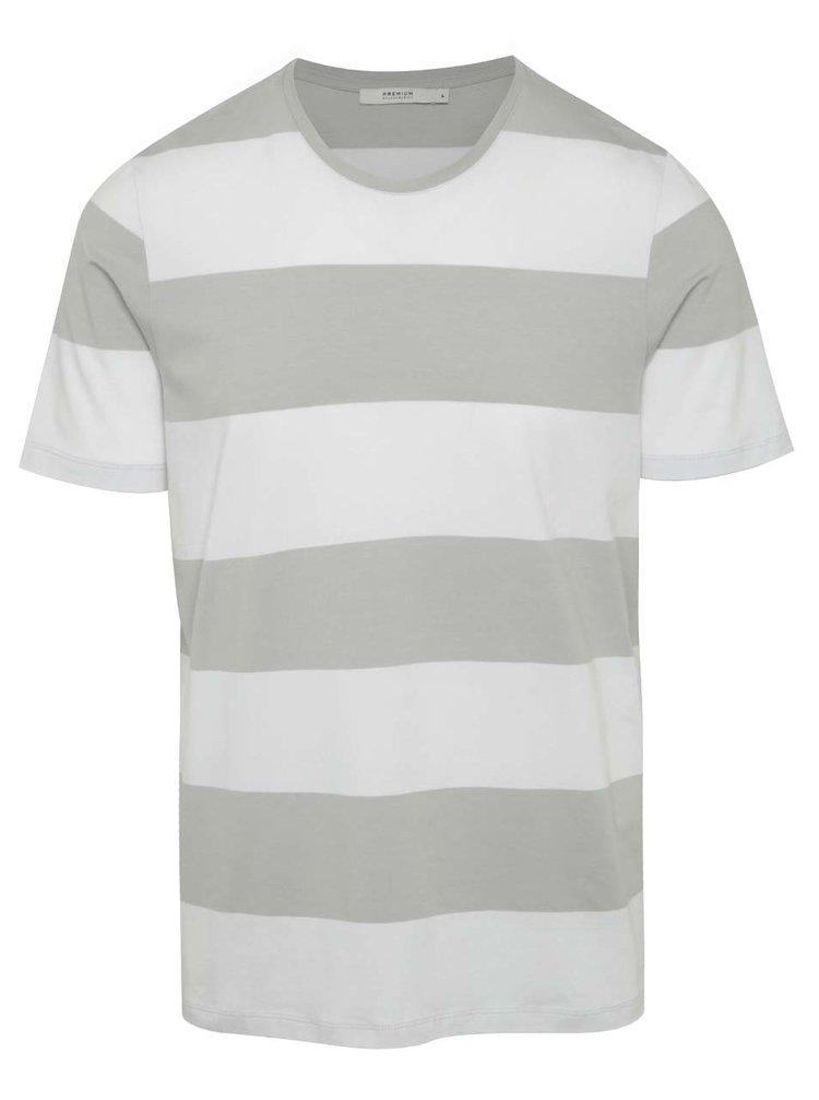 Bílo-šedé pruhované triko Jack & Jones Pima