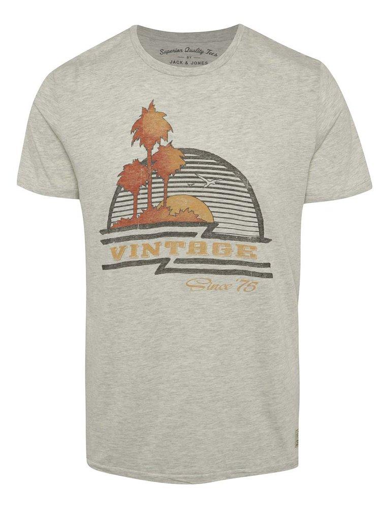 Tricou gri melanj Jack & Jones Custom 6 cu print