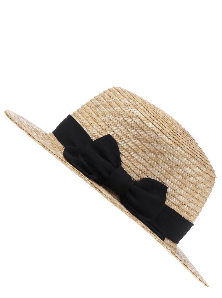 Pălărie crem Pieces Kalisa cu fundă
