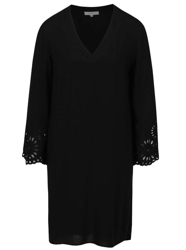 Rochie neagră Selected Femme Blair  cu decupaje florale pe mâneci