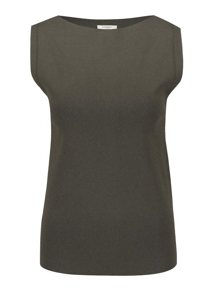 Khaki elastické tílko Selected Femme Mirja