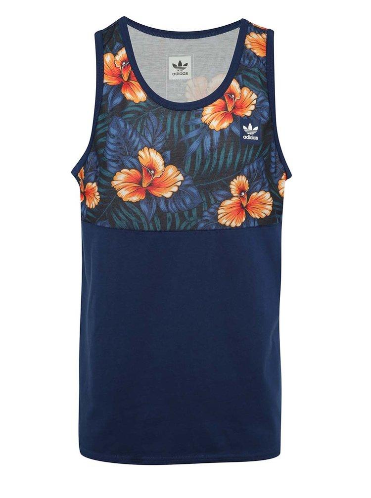 Top bleumarin cu model tropical adidas Originals