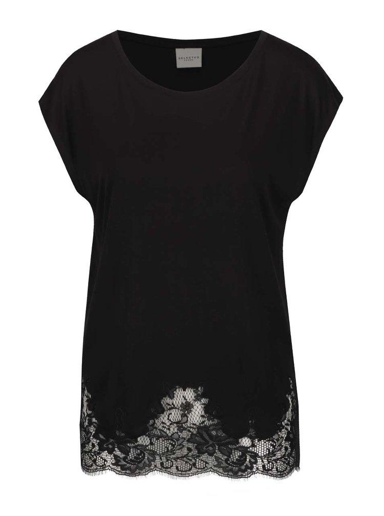 Tricou negru Selected Femme Dinella cu dantelă în partea inferioară