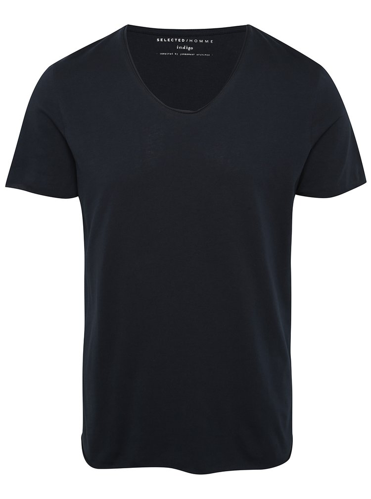 Tmavomodré basic tričko s krátkym rukávom Selected Homme Newmerce