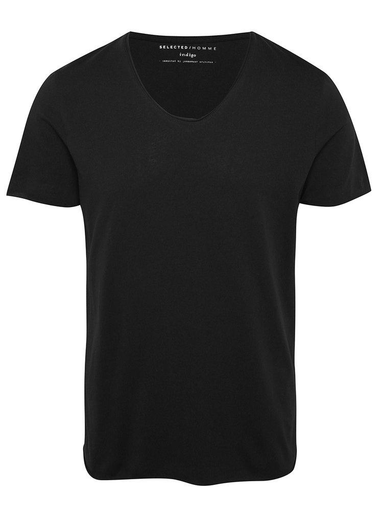 Černé basic tričko s krátkým rukávem Selected Homme Newmerce