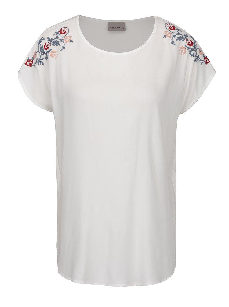 Krémové tričko s výšivkou VERO MODA Ember