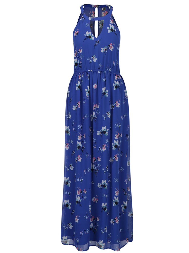 Modré květované maxišaty VERO MODA Wilmara