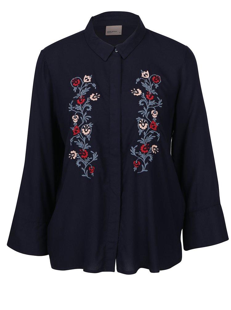 Tmavě modrá košile s výšivkou VERO MODA Ember