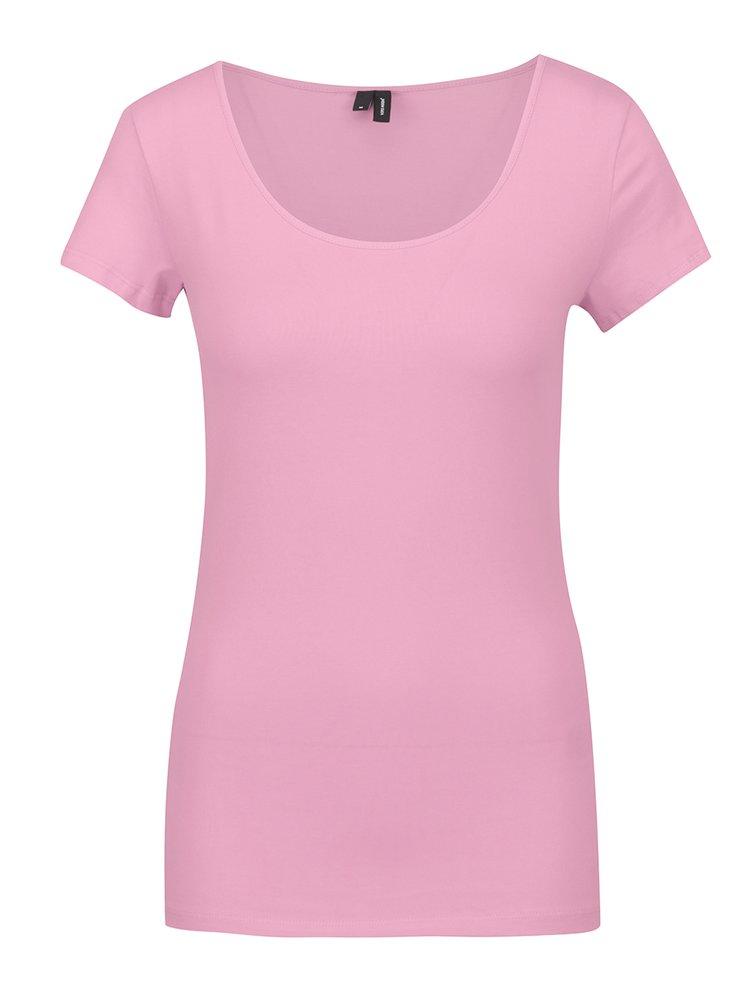 Světle růžové basic tričko s krátkým rukávem VERO MODA Maxi