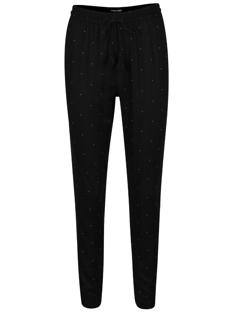Bílo-černé puntíkované volné kalhoty TALLY WEiJL