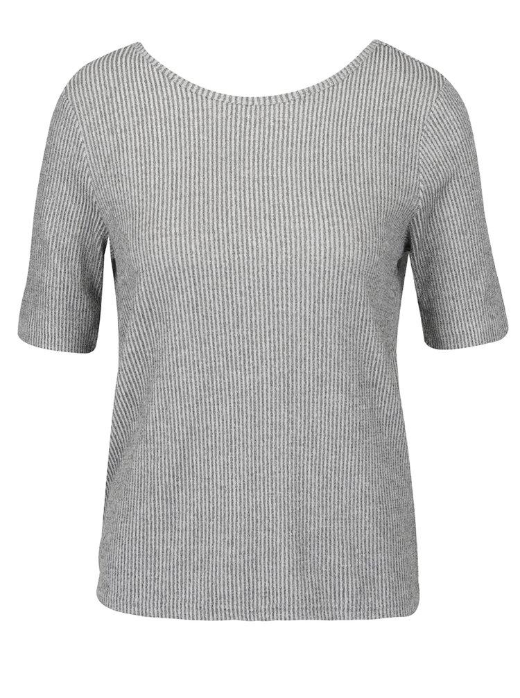 Tricou gri din jerseu VERO MODA Kaitlyn cu detaliu încrucișat