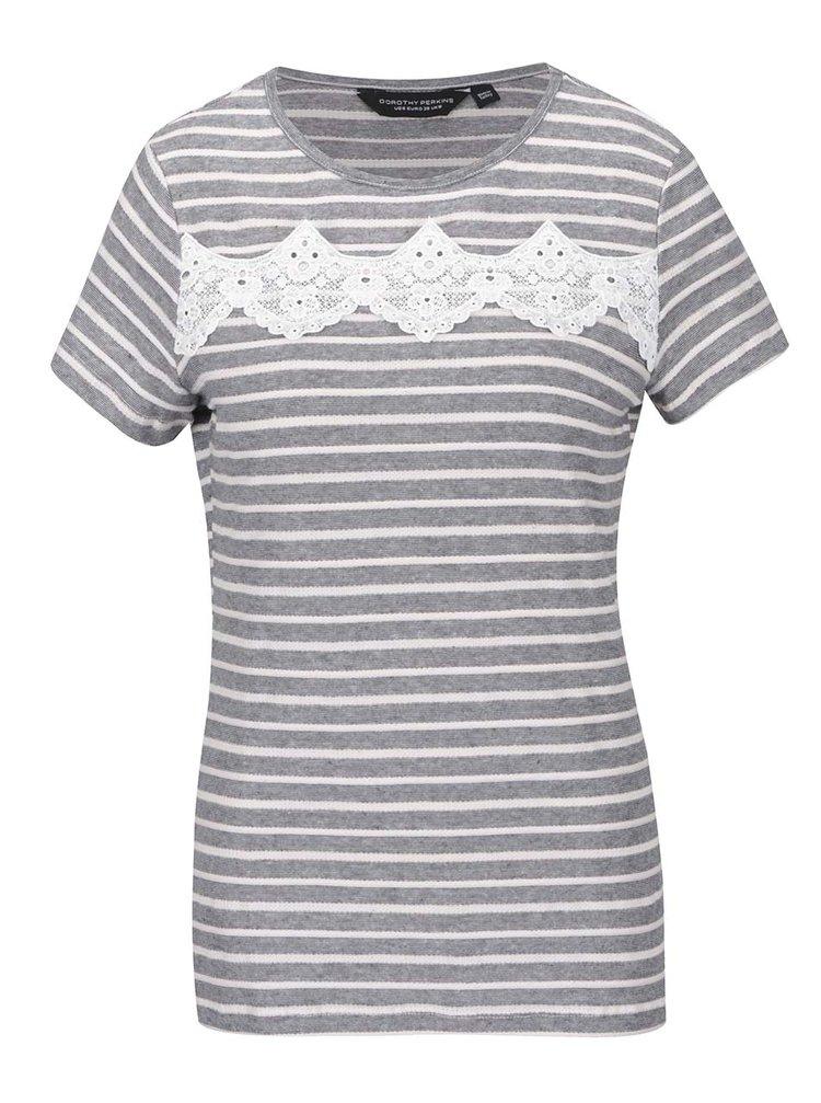 Tricou gri&alb Dorothy Perkins cu imprimeu cu dungi