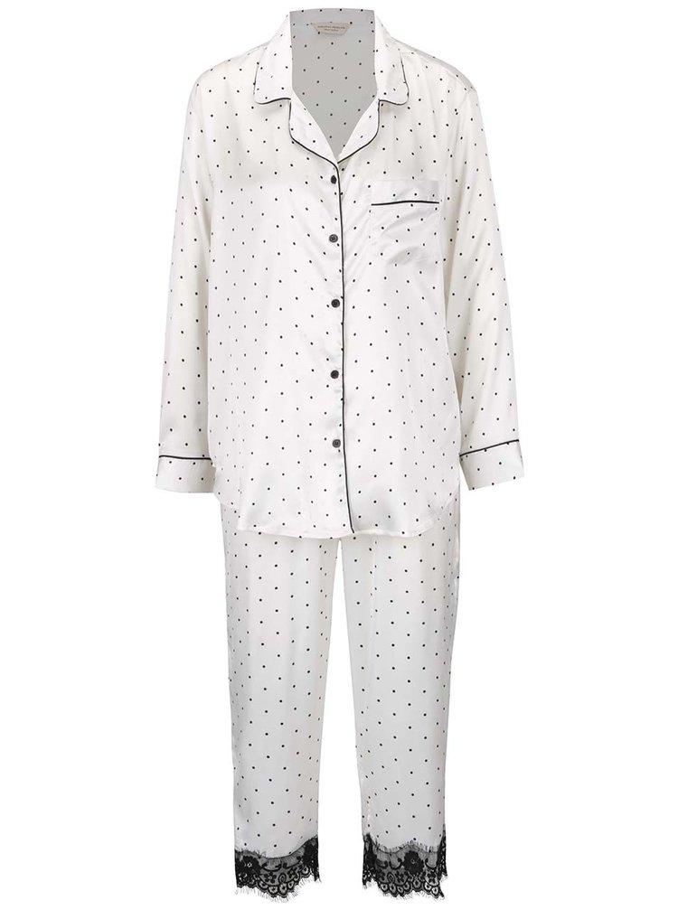 Bílé puntíkované pyžamo s krajkovými detaily Dorothy Perkins