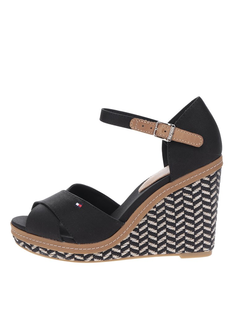 ... Černé dámské sandály na klínku Tommy Hilfiger 8003a64acd