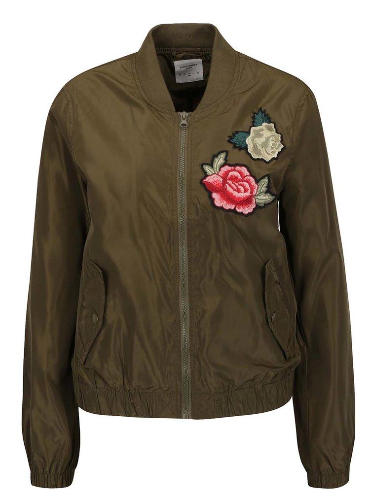 Jachetă kaki bomber cu broderie florală VERO MODA Rose