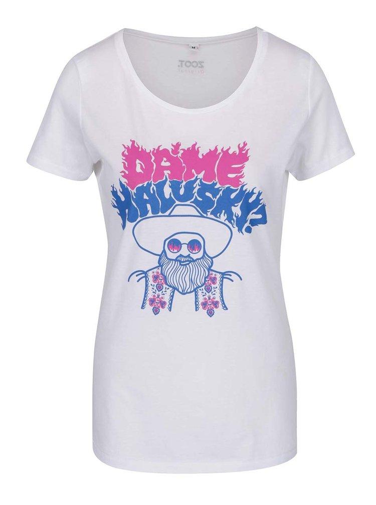 Bílé dámské tričko Dáme halušky? ZOOT Originál