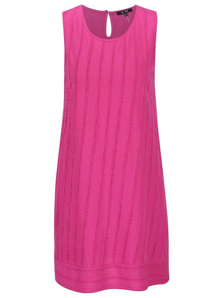 Růžové šaty bez rukávů s jemným plastickým vzorem Yest