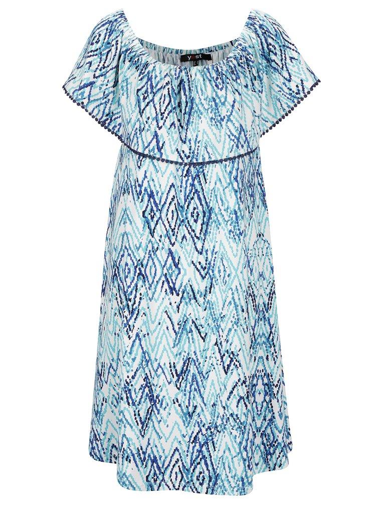 Bílo-modré vzorované šaty s odhalenými rameny a volánem Yest