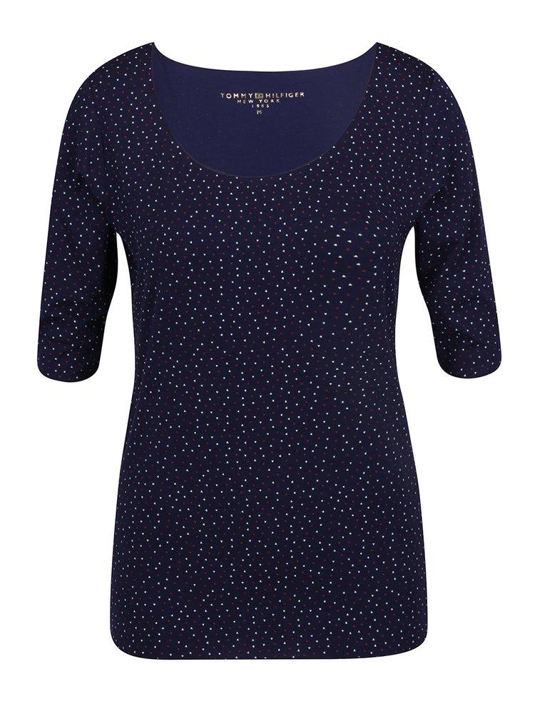 Tmavě modré dámské vzorované tričko Tommy Hilfiger