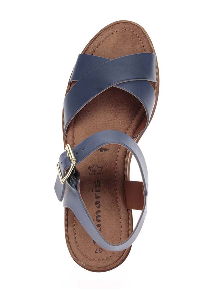b5e0d6a684 ... Tmavomodré kožené sandále na platforme Tamaris