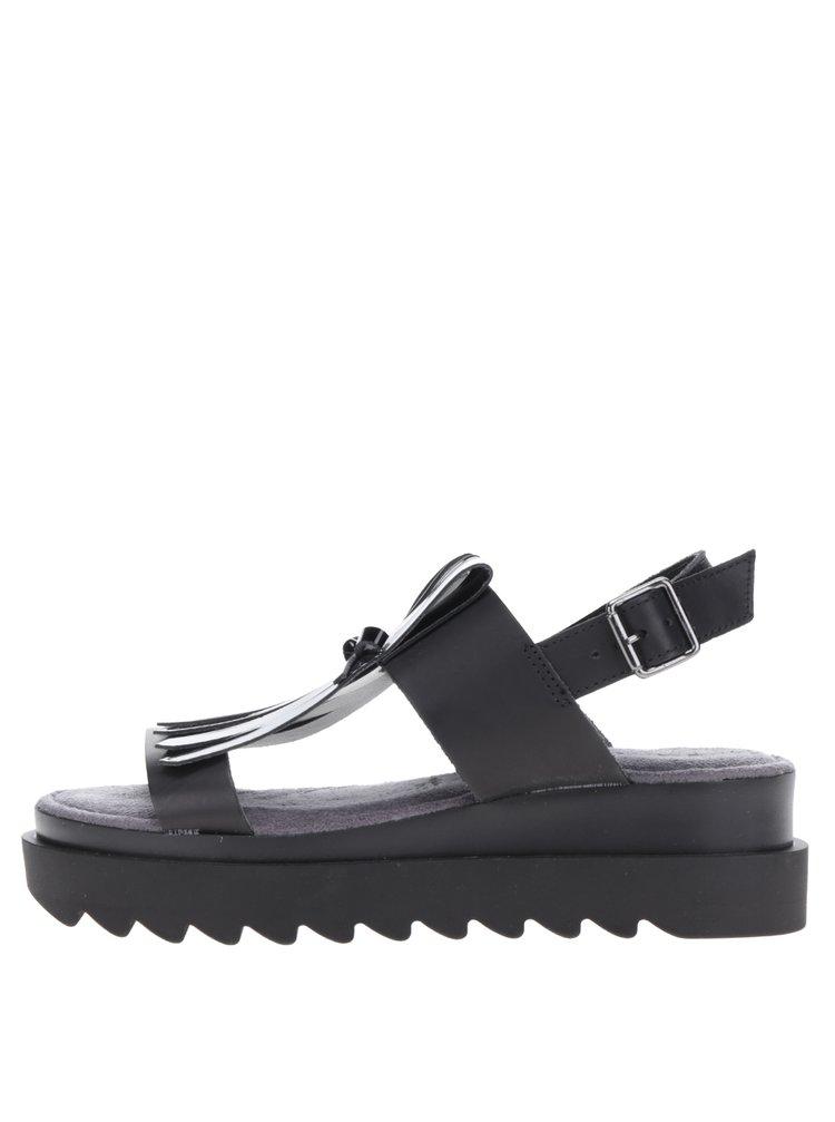 Sandale negre din piele cu franjuri decorativi Tamaris
