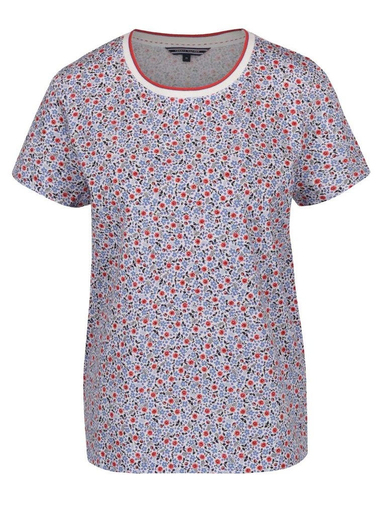 Krémové dámské květované tričko Tommy Hilfiger