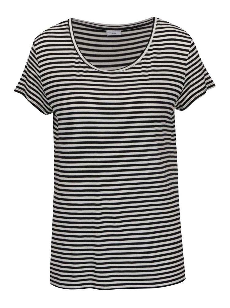 Tricou alb&negru Jacqueline de Yong Spirit cu model în dungi