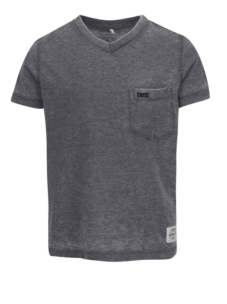 Šedé klučičí žíhané triko s kapsou name it Style