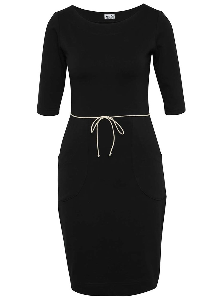 Rochie neagră Miestni cu șnur în talie