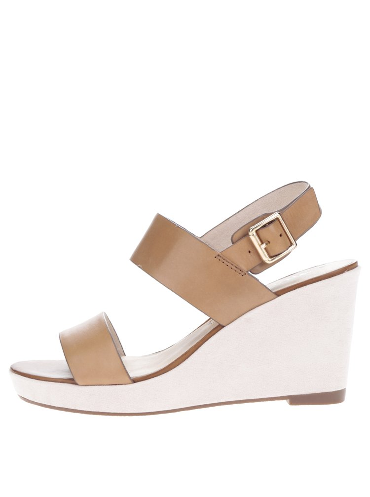 Hnědé kožené sandály na klínku Tamaris