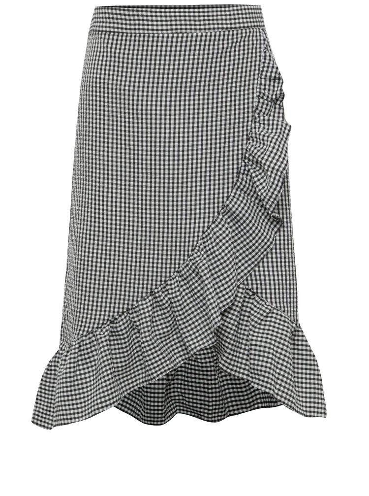 Černo-bílá kostkovaná sukně s volány Miss Selfridge