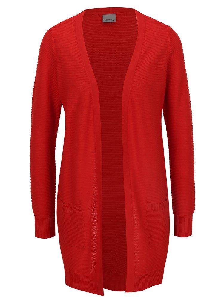 Červený cardigan s kapsami VERO MODA Nice