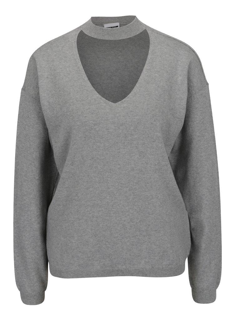Světle šedý svetr s průstřihem v dekoltu Noisy May Bound