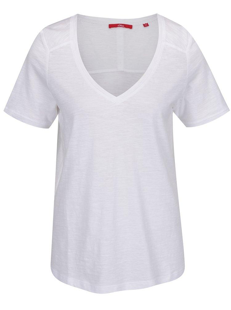 Tricou alb de damă s.Oliver cu nasturi decorativi