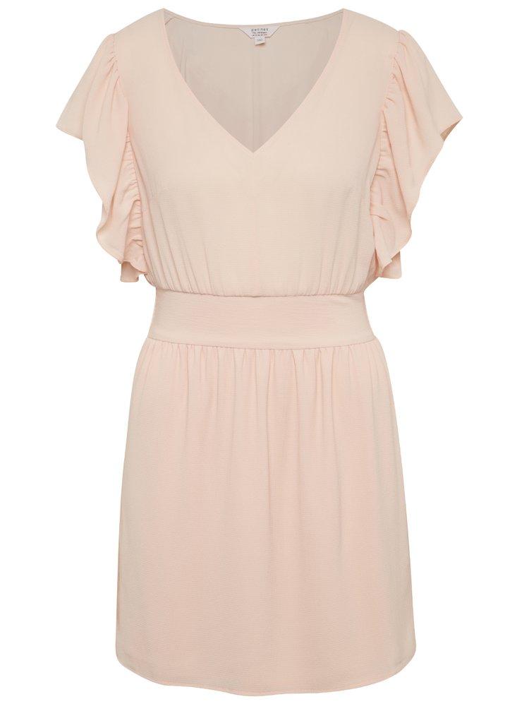 Světle růžové šaty s véčkovým výstřihem a volány Miss Selfridge Petites