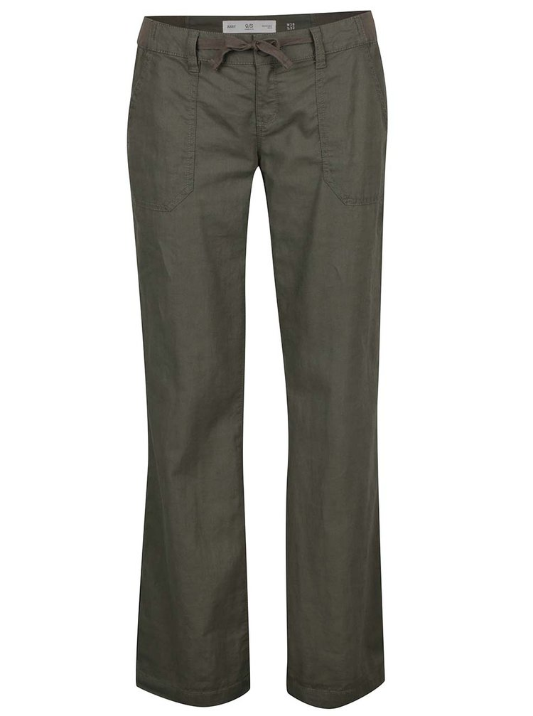 Pantaloni evazați kaki QS by s.Oliver pentru femei