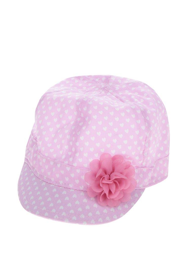 Růžová holčičí kšiltovka s umělou květinou 5.10.15.