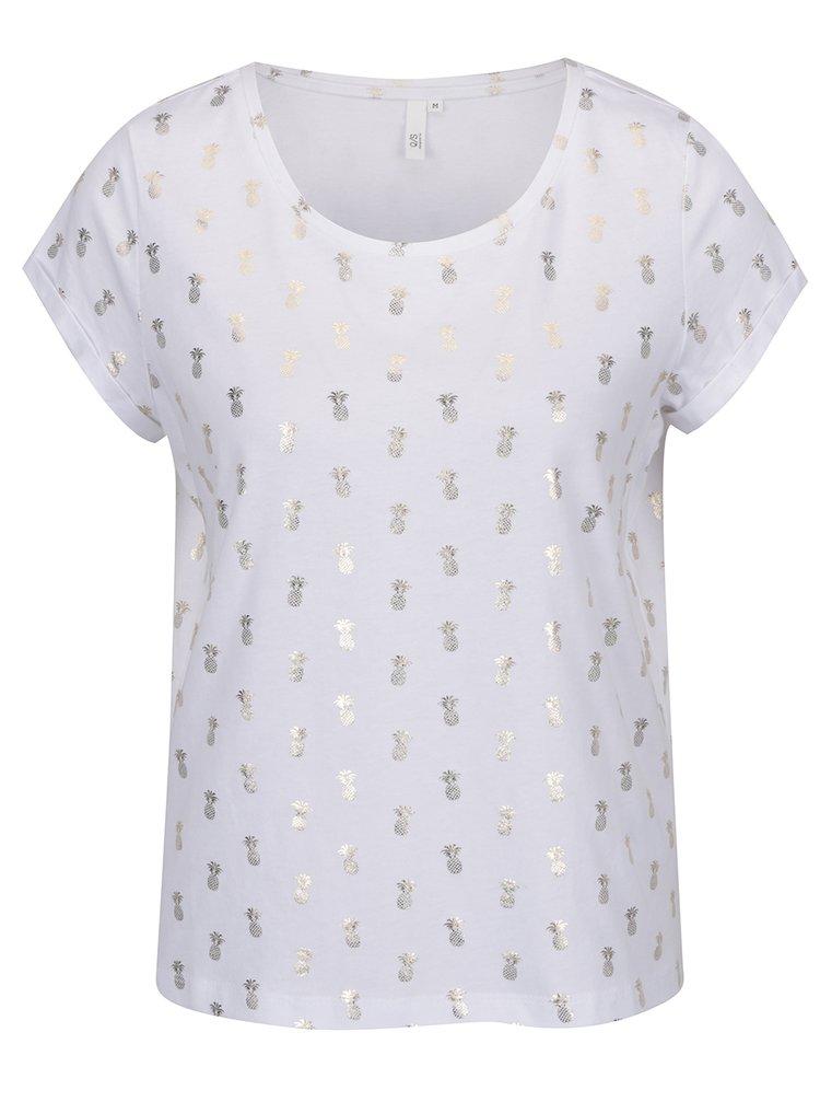 Bílé dámské tričko s potiskem ananasů ve zlaté barvě QS by s.Oliver
