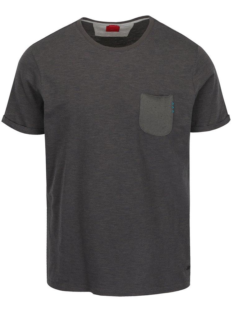 Tricou gri din bumbac s.Oliver cu buzunar pentru bărbați