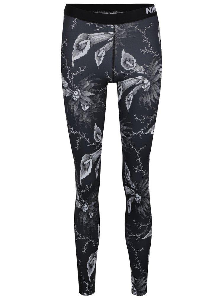 Colanți negru&alb cu print floral pentru femei Nike Pro Warm Tight